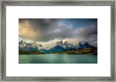 The Mountains On The Lake Framed Print by Andrew Matwijec