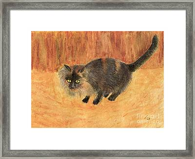 The Mouser, Barn Cat Watercolor Framed Print