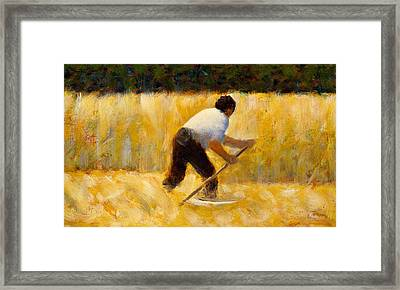 The Mower Framed Print by Georges Pierre Seurat