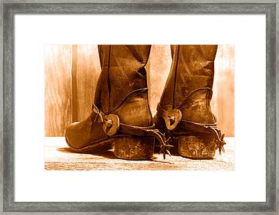 The Muddy Boots - Sepia Framed Print by Olivier Le Queinec