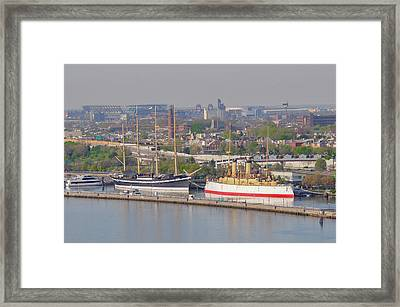 The Mushulu And Uss Olympia - Philadelphia Framed Print by Bill Cannon