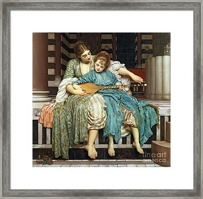 The Music Lesson Framed Print by Frederic Leighton