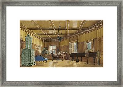The Music Room Of Archduchess Margarete  Princess Of Saxony Framed Print by Heinrich Von Forster