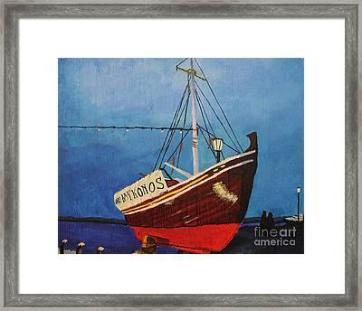 The Mykonos Boat Framed Print