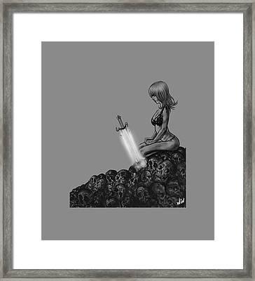 The Mystical Sword Black Version Framed Print by Winston Wesley Art