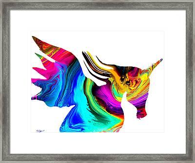 The Mythological Unicorn Framed Print by Abstract Angel Artist Stephen K