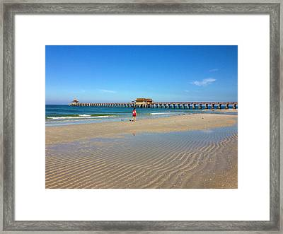 The Naples Pier At Low Tide Framed Print