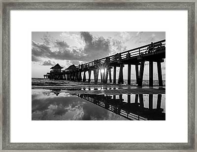 Naples Pier At Sunset Naples Florida Black And White Framed Print