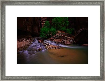 The Narrows Waterfall Zion National Park Framed Print by Scott McGuire