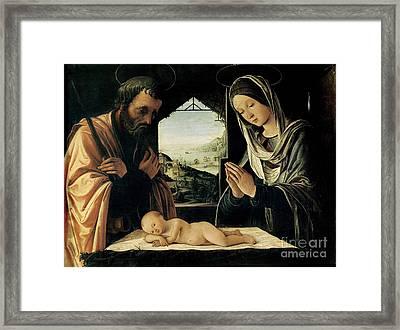 The Nativity Framed Print by Lorenzo Costa