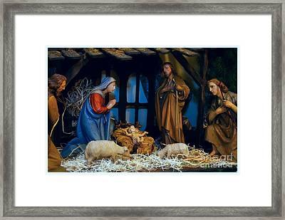 The Nativity Scene - Border Framed Print by Frank J Casella