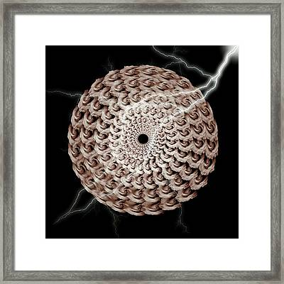 The Natural Elements Of Mandala Rose And Lightning  - Right Framed Print by Jacqueline Migell