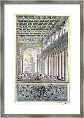 The Nave, Apse, And Crossing Of A Cathedral For Berlin Framed Print by Karl Friedrich Schinkel