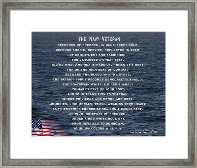 The Navy Veteran Framed Print by Patrick J Maloney