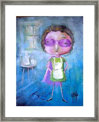 Framed Print featuring the painting The Nerearsighted Super Mom by Eleatta Diver