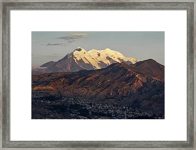 The Nevado Illimani And The South City Of La Paz. Republic Of Bolivia. Framed Print by Eric Bauer