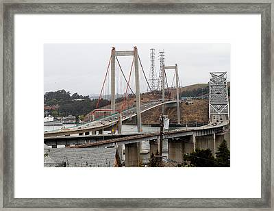 The New Alfred Zampa Memorial Bridge And The Old Carquinez Bridge . 7d8915 Framed Print by Wingsdomain Art and Photography