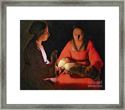 The New Born Child Framed Print by Georges de la Tour