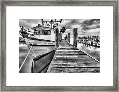 The New Horizon Shrimp Boat Bw Framed Print