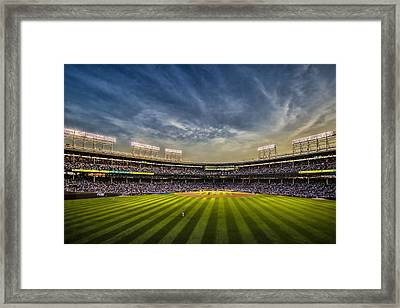 The New Wrigley Field With Pretty Sunset Sky Framed Print