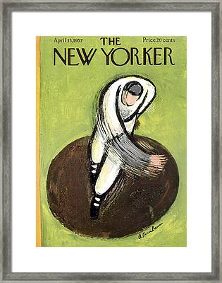 The New Yorker Cover - April 13th, 1957 Framed Print by Abe Birnbaum
