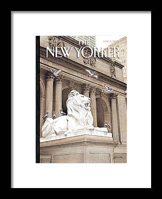 Lion Statue Framed Prints