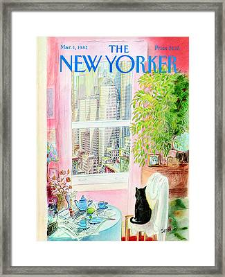 The New Yorker Cover - March 1, 1982 Framed Print