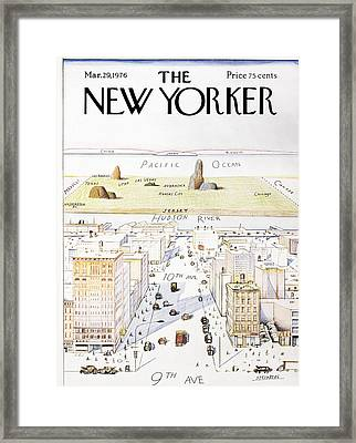 View From 9th Avenue Framed Print by Saul Steinberg