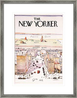 The New Yorker - Magazine Cover - Vintage Art Nouveau Poster Framed Print