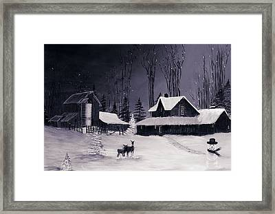 The Night Before Christmas Silvertoned Framed Print by Diane Schuster