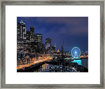 The Night Before Super Bowl Xlix, 2014, Seattle Waterfront Framed Print