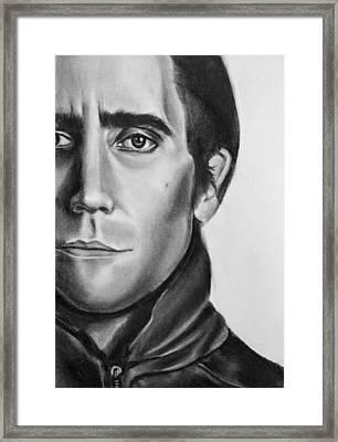 Nightcrawler Movie Art Drawing - Jake Gaalynhaal Charcoal Pencil Drawing - Ai P. Nilson Framed Print