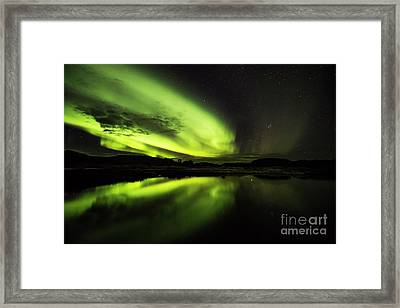 The Northern Lights Thingvellir Framed Print by Gunnar Orn Arnason