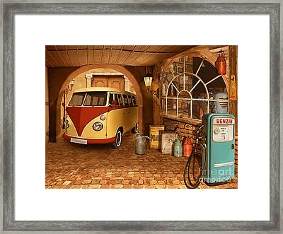 The Nostalgic Garage With Bulli Framed Print by Monika Juengling