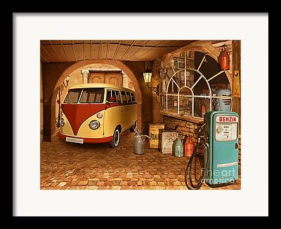 Old Bus Stations Mixed Media Framed Prints