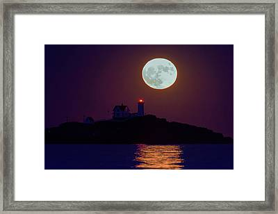 The Nubble And The Full Moon Framed Print by Rick Berk