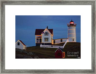 The Nubble At Christmas Framed Print by Alice Mainville