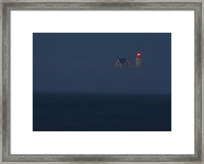 The Nubble At Night Framed Print by Lori Deiter