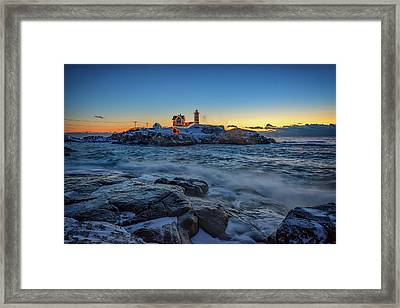 The Nubble In Winter Framed Print