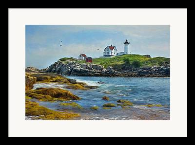 Nubble Lighthouse Mixed Media Framed Prints