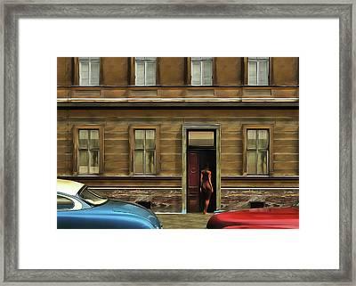 The Nude In The Door Framed Print