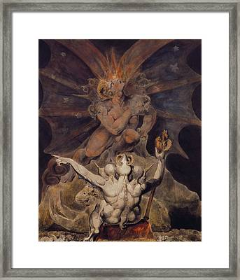 The Number Of The Beast Is 666 Framed Print by William Blake