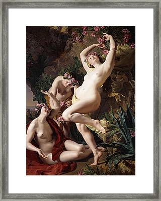 The Nymphs In Homer's Odyssey Framed Print by Ferdinand Georg Waldmuller