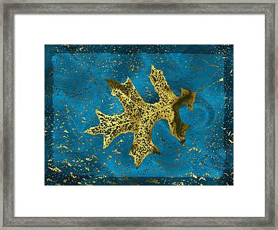 The Oak Leaf And The Wind Storm Framed Print by Tim Allen