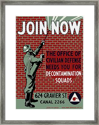 The Office Of Civilian Defense Needs You - Wpa Framed Print by War Is Hell Store