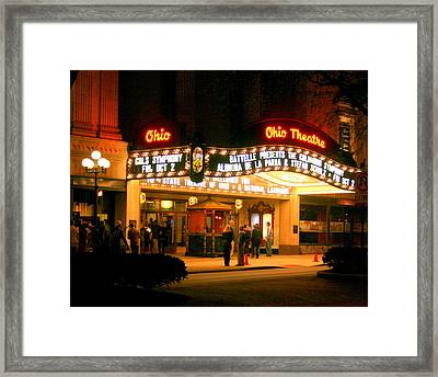 The Ohio Theater At Night Framed Print