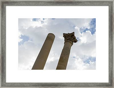 The Old And The New - Columns At The Open Air Theatre Valletta Malta Framed Print by Georgia Mizuleva