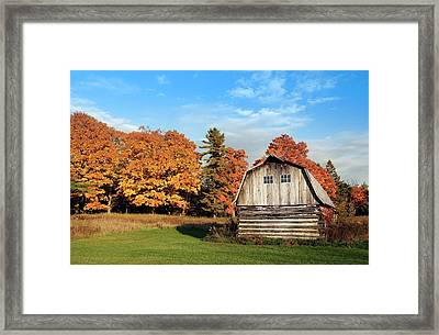 The Old Barn In Autumn Framed Print by Heidi Hermes