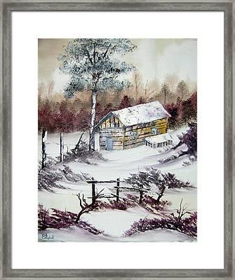 The Old Barn In Winter Framed Print
