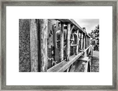 The Old Black And White Firetruck Framed Print